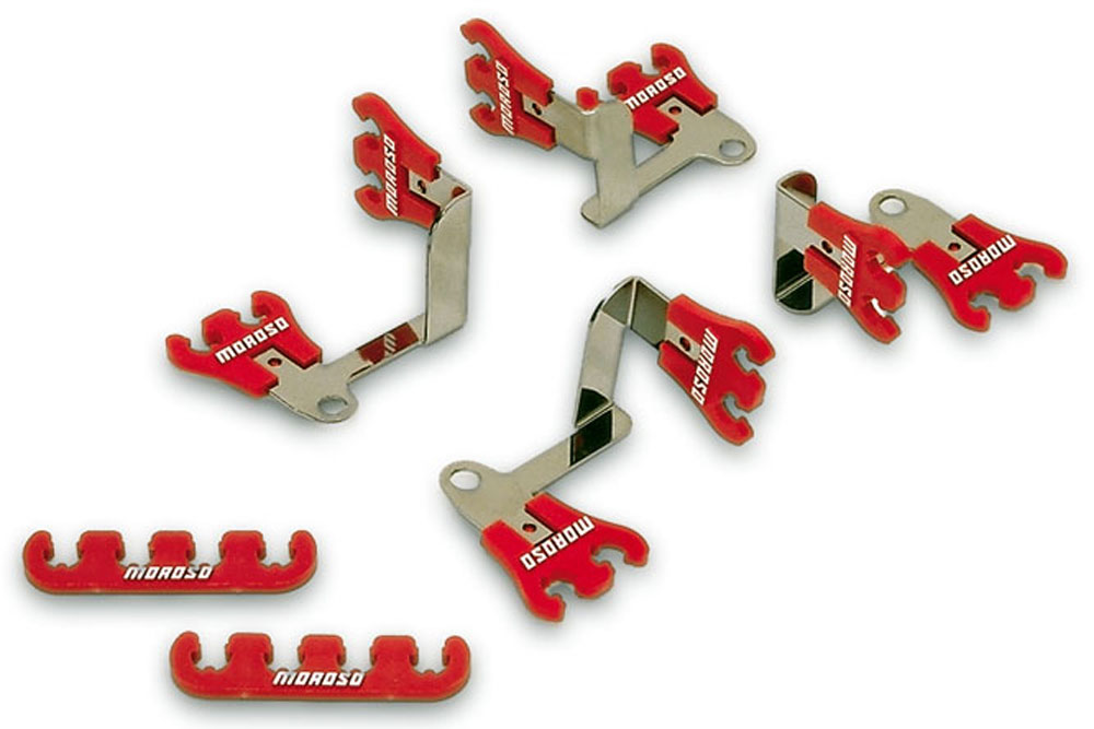 Moroso Show Car Small Block Chevy Spark Plug Wire Loom Kit Red Chrome 72168