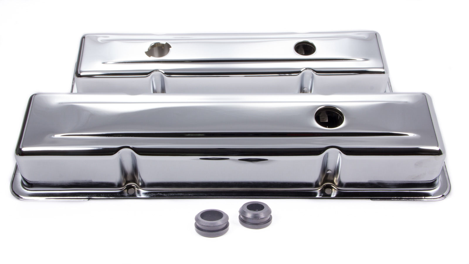 Bandit Valve Cover Set 9518; OE-Style Chrome Steel for Chevy 265-400 SBC